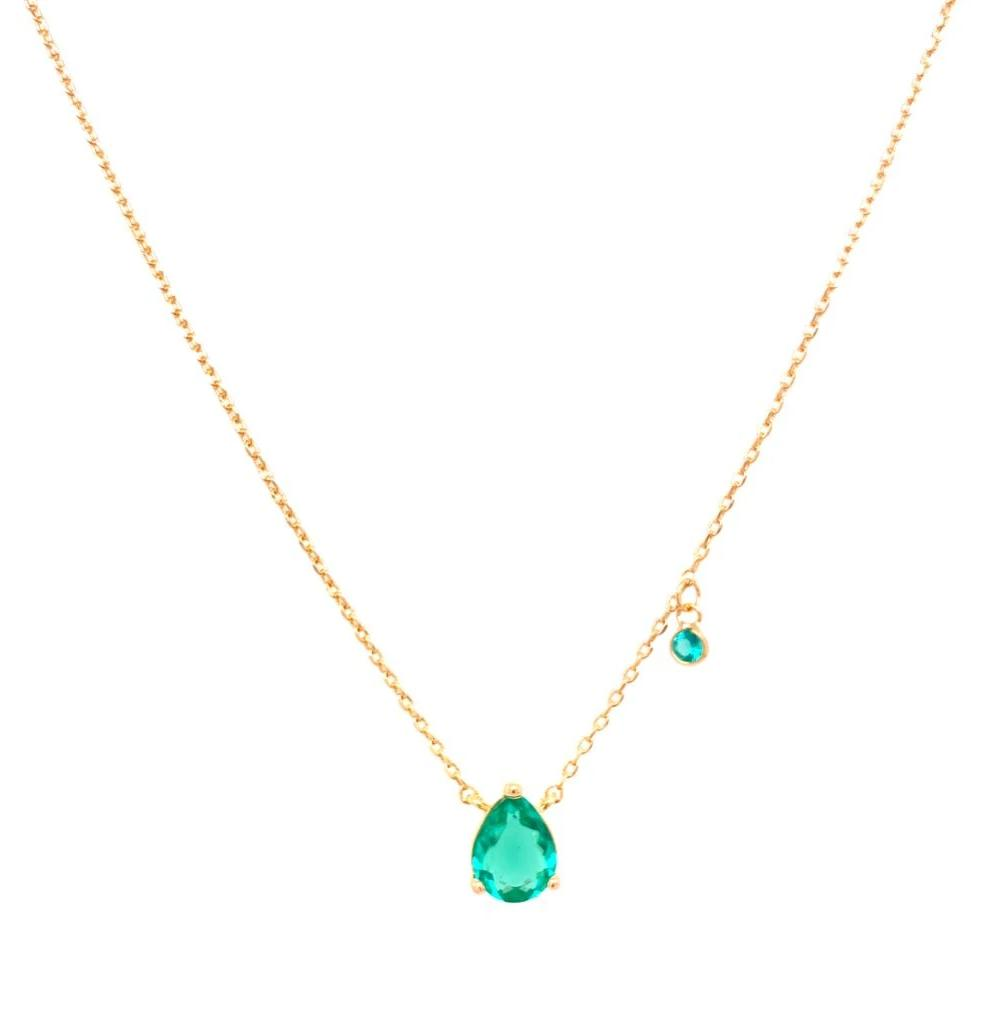 Droplet with Light Point Necklace - Paraiba Tourmaline - 18k Gold Plated
