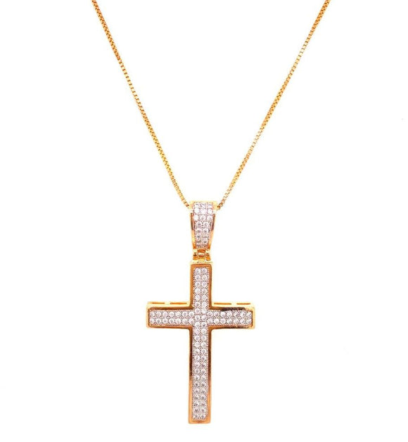 Crystal Studded Zircon Crucifix Necklace - 18k Gold Plated