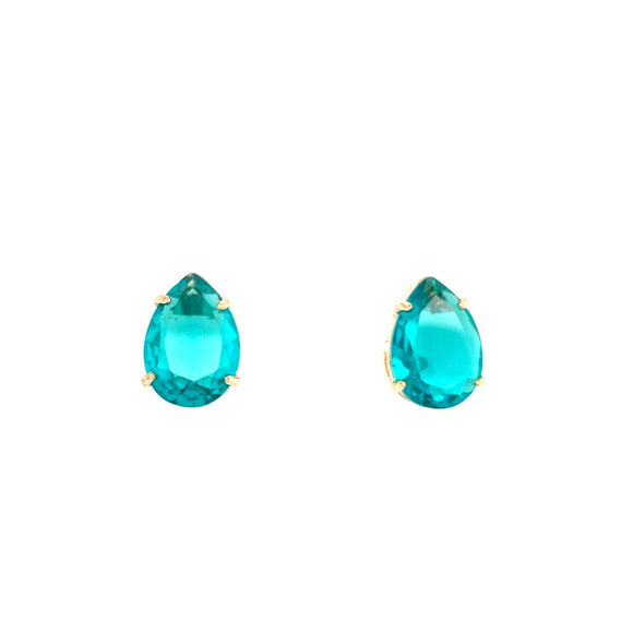 Light Paraiba Brazil  Medium Drop Earrings 18k Gold Plated
