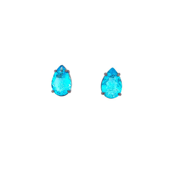 Aquamarine Medium Drop Earrings Black Rhodium