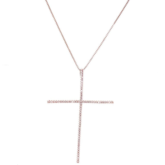 Fine Crucifix Necklace - White Rhodium Plated