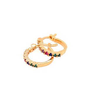 Rainbow Multicoloured Crystals Sleepers Hoop
