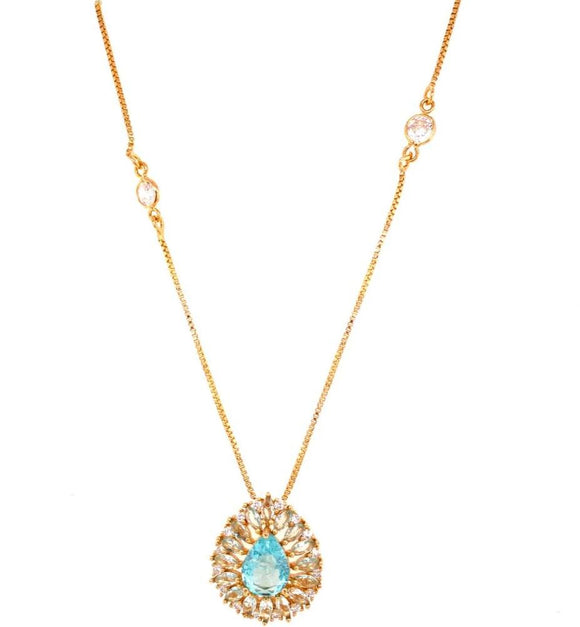Crystal bordered Drop Necklace - Sky Fusion - 18k Gold Plated