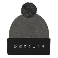 Load image into Gallery viewer, Kwanzaa Symbols WHT Pom Pom Knit Cap