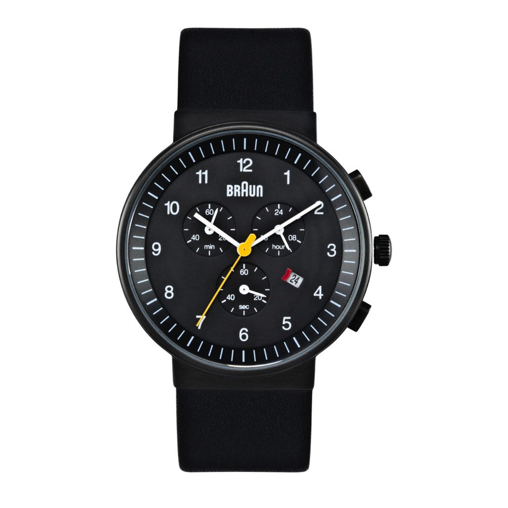 Braun BN-35 Men's Chronograph, Black Face Black Band