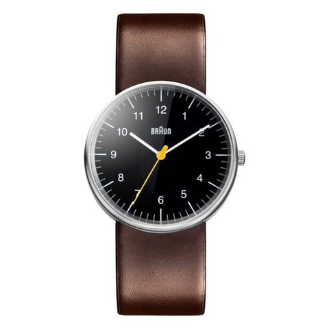 Braun BN-21 Analog Wristwatch, Black Face & Brown Band