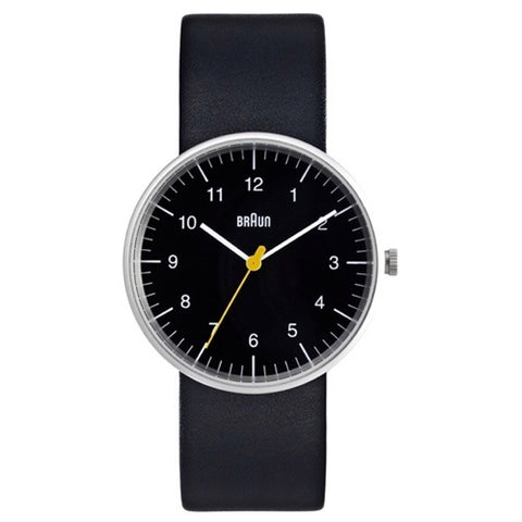 Braun BN-21 Round Analog Wristwatch, Black Face Black Band