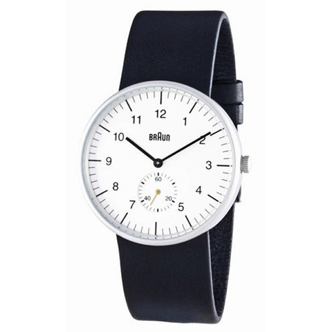 Braun BN-24 Round Analog Wristwatch, White Face