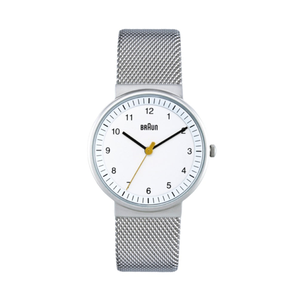 Braun BN-31 Ladies' Analog Wristwatch, White Face & Mesh Band