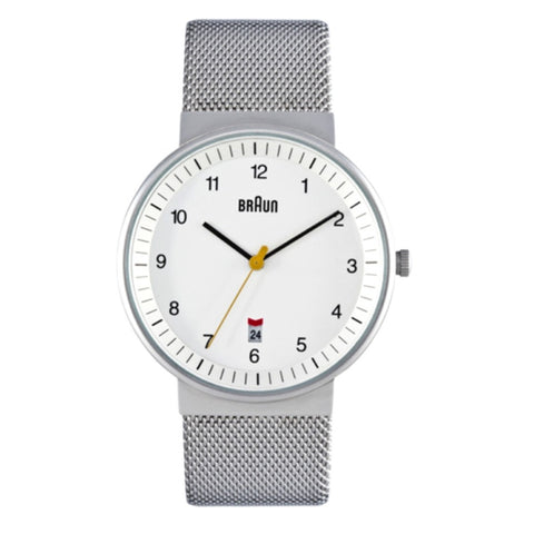 Braun BN-32 Analog Wristwatch, White Face & Mesh Band