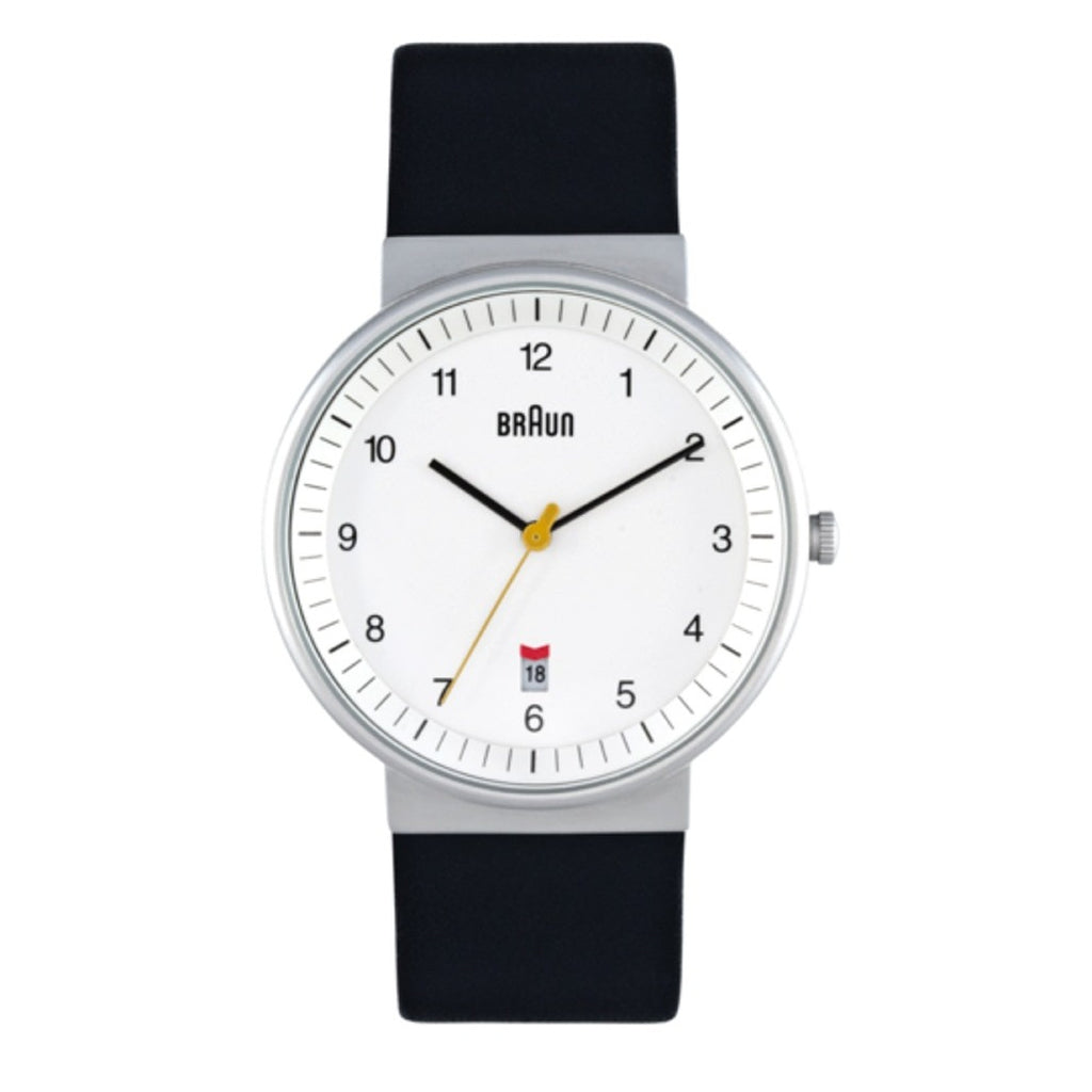Braun BN-32 Analog Wristwatch, White Face & Black Band