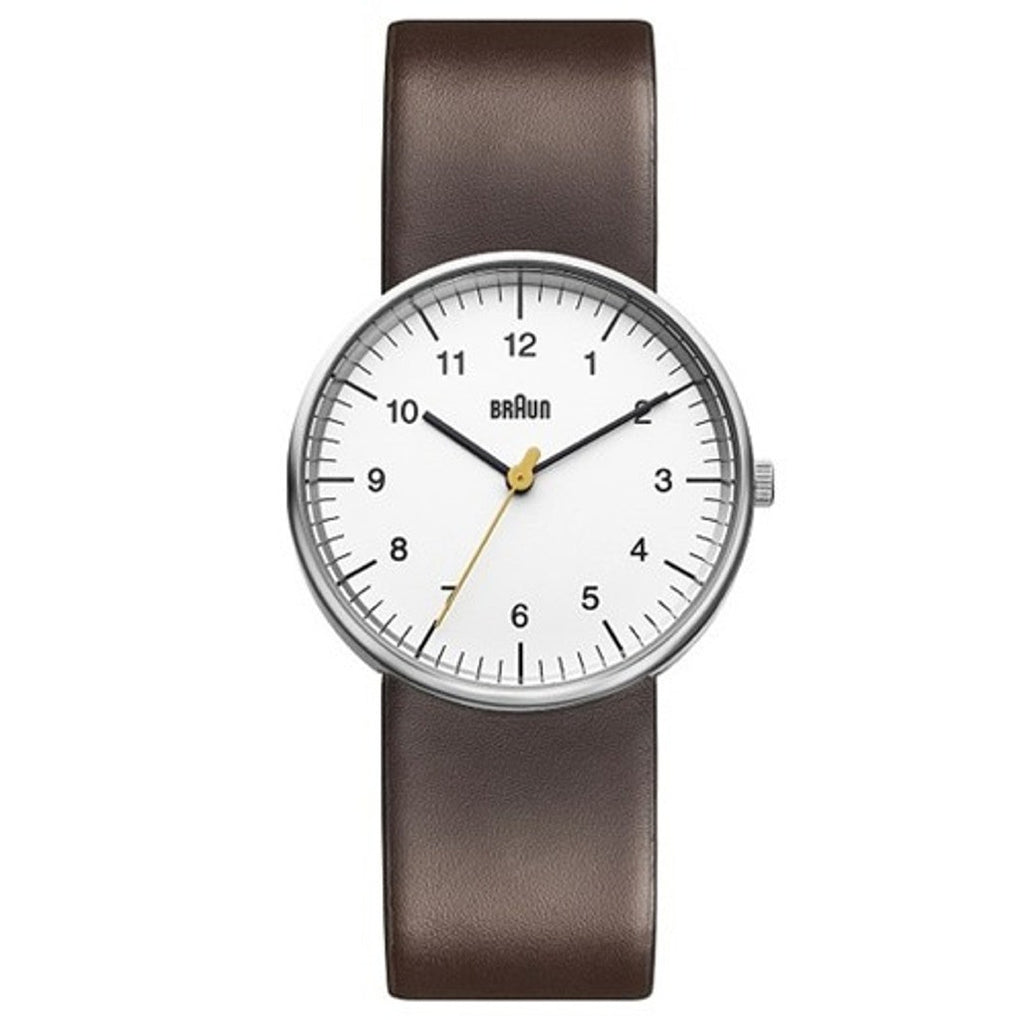 Braun BN-21 Round Analog Wristwatch, White Face Brown Band