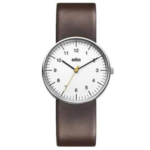 Braun BN-21 Analog Wristwatch, White Face & Brown Band
