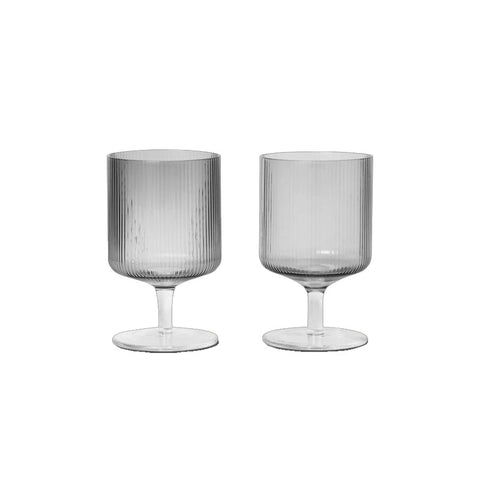Ripple Wine Glasses, Smoke (Set of 2)