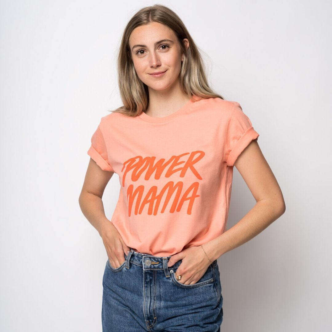 Flirty Birdy - T-shirt - Koral - Power Mama