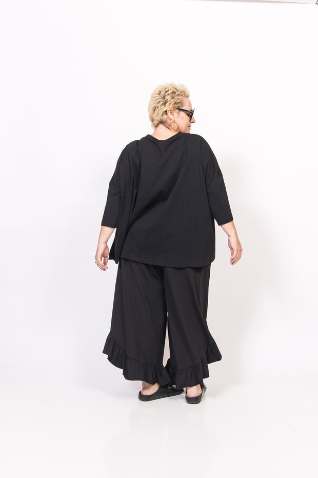 Jersey Black Ruffled Pant