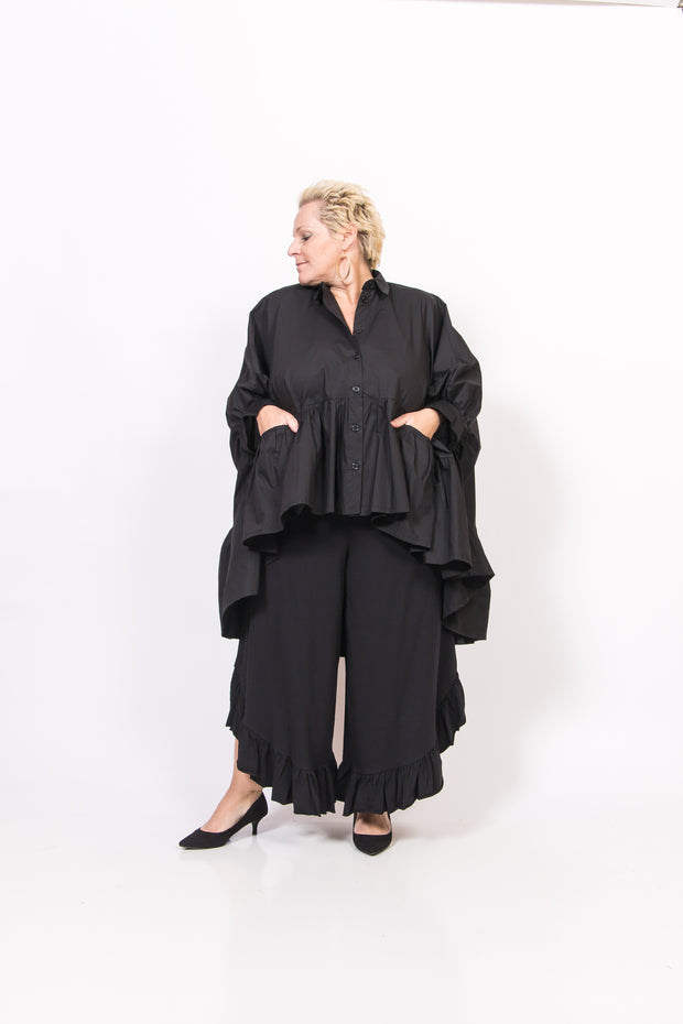 Black 100% Cotton Ruffle Top/Tunic