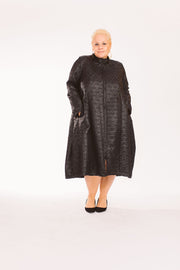 Faux Leather Black Dress/Coat