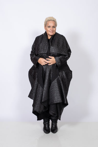 Voluminous Faux Leather Black Coat