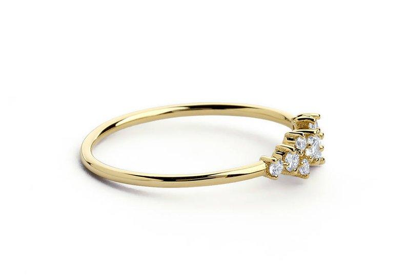 Cluster Ring in 14k Gold Handmade