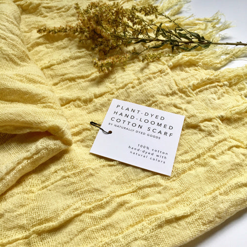 Hand-Loomed Plant-Dyed Cotton Shawl Scarf