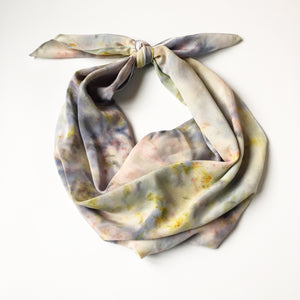 Botanically Bundle-Dyed Stonewashed Silk Scarf, Mixed Watercolor