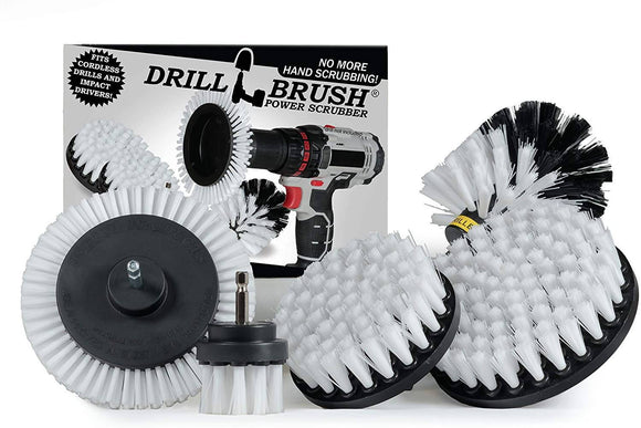 Drill Brush Power Scrubber Soft White Attachment Set