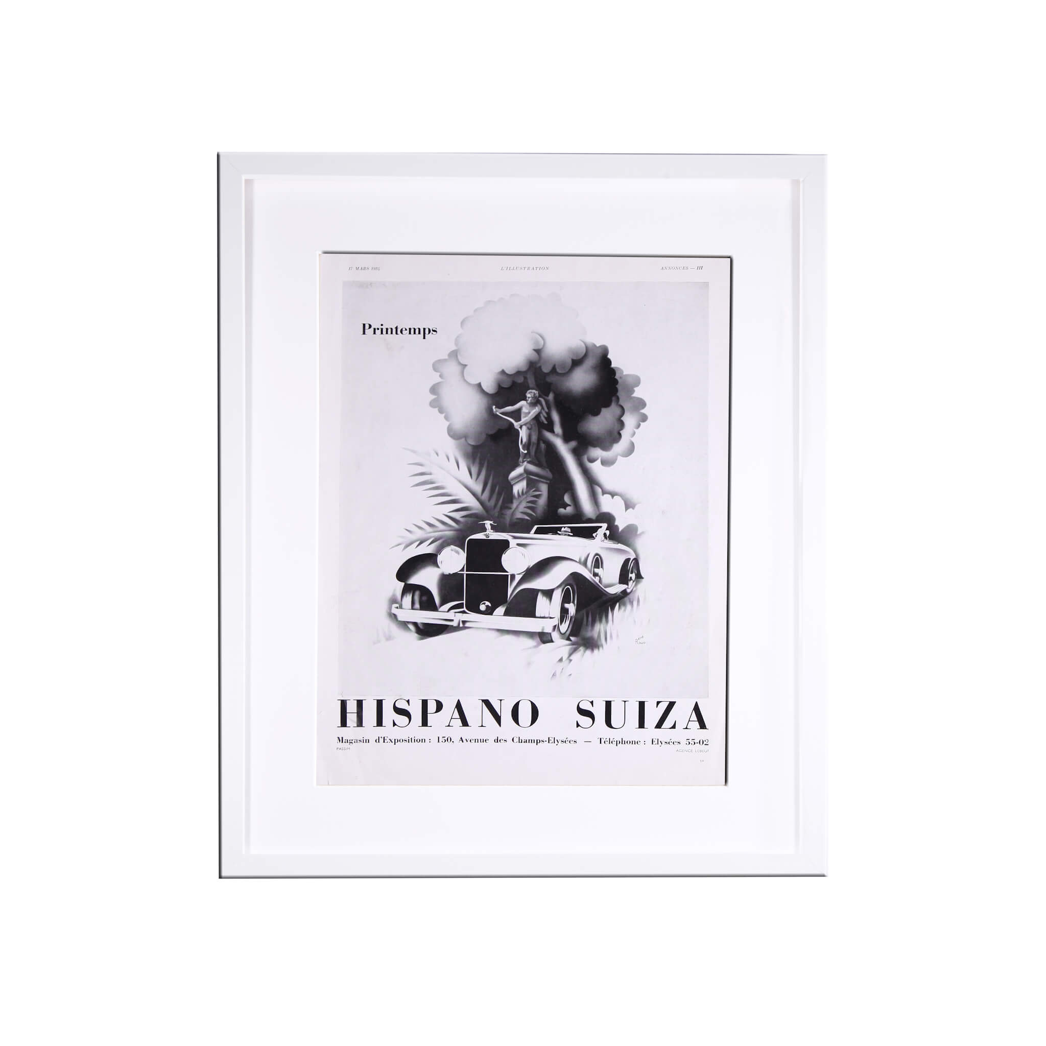 Set Of Four Original Period 1930S Car Adverts - Hispano Suiza Bugatti Voisin Delage Print