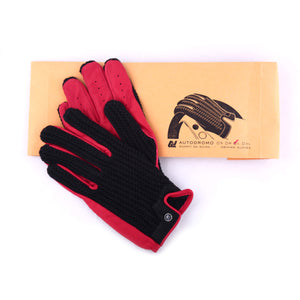 Driving Gloves in red leather and black string back by Autodromo