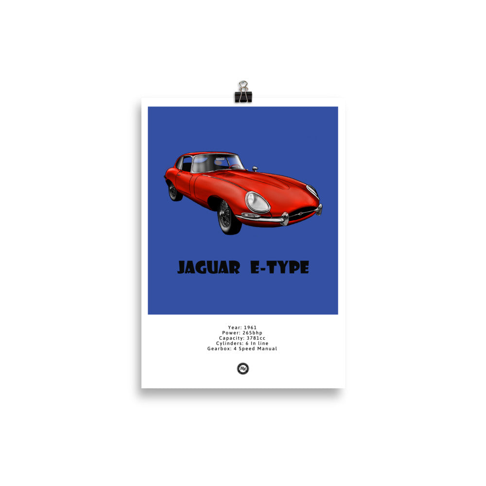 Jaguar E-Type Original Poster Blue Poster