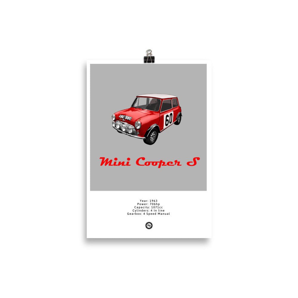 Mini Cooper S Original Poster Grey Poster