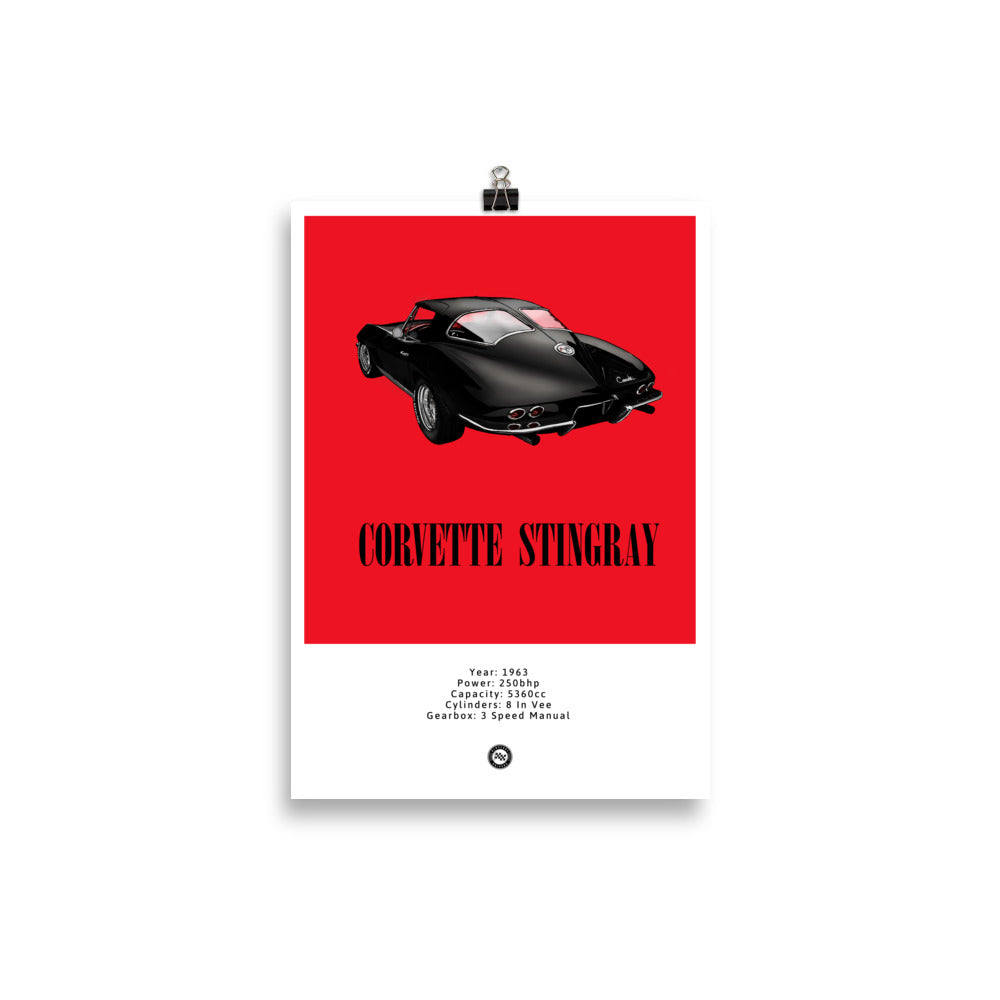 Corvette Stingray Original Poster Red Poster