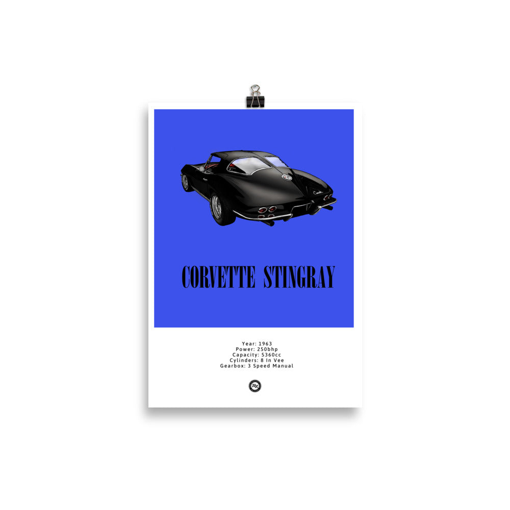 Corvette Stingray Original Poster Blue Poster