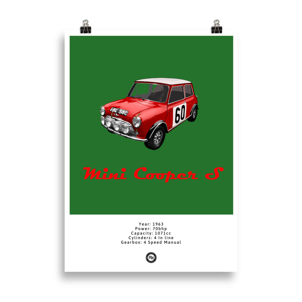 Mini Cooper S Original Poster Green Poster