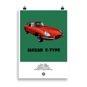 Jaguar E-Type Original Poster Green Poster