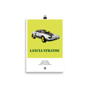 Lancia Stratos Original Poster Yellow Poster