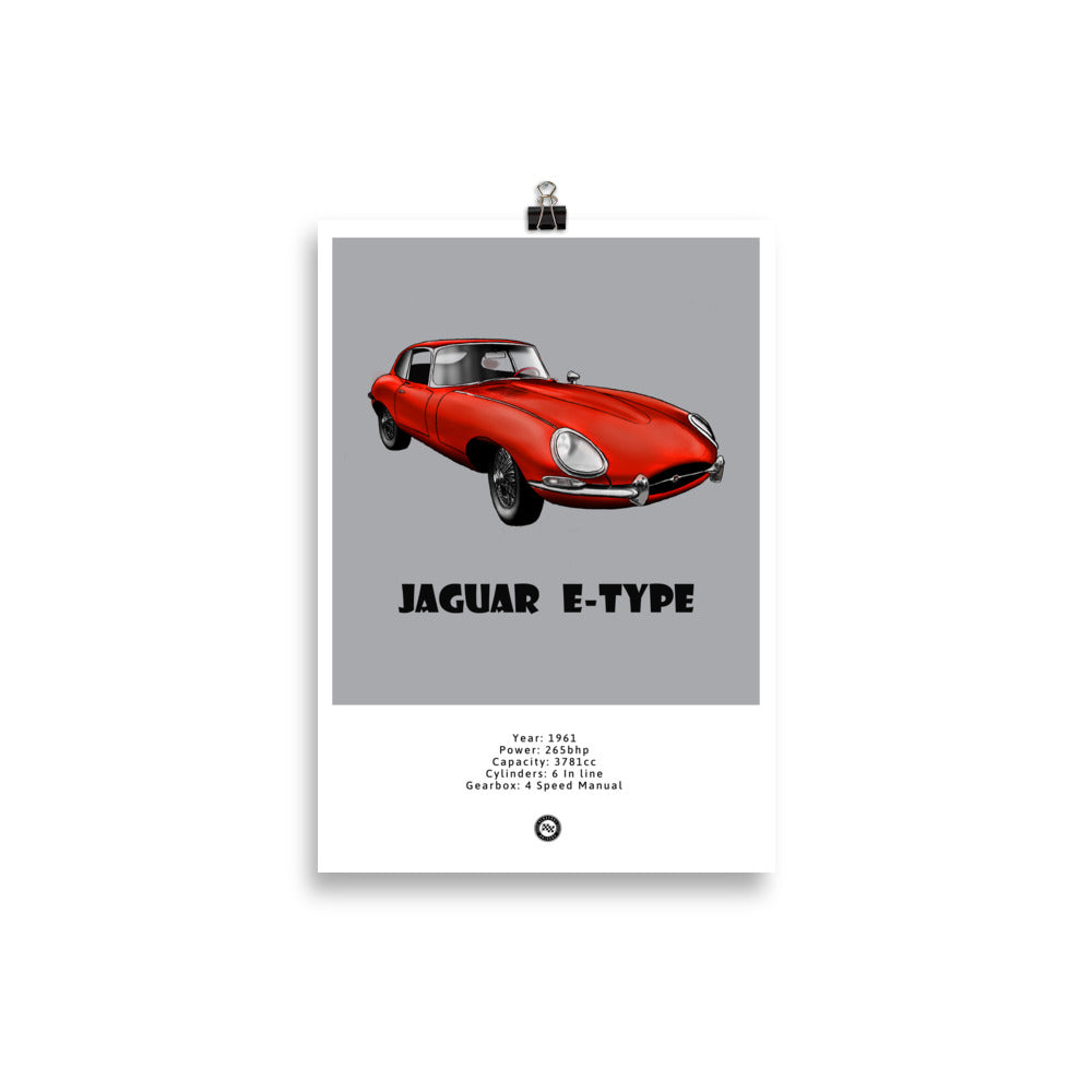 Jaguar E-Type Original Poster Grey Poster
