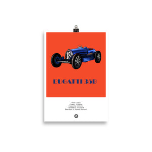 Bugatti Type 35B Original Poster In Orange Poster