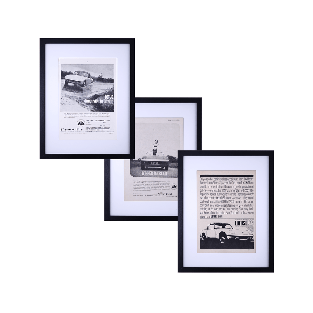 Set of Three Original 1960's Lotus Elan Adverts