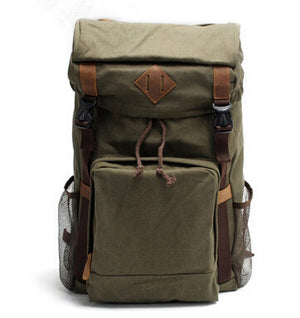 Vintage Leather Military Canvas Backpack