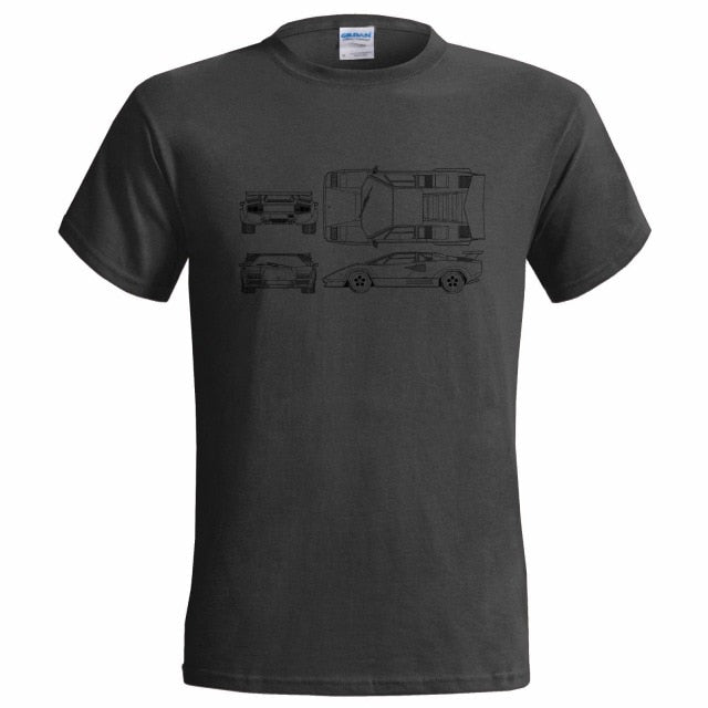 1988 Lamborghini Countach 5000 QV Blueprint T-Shirt