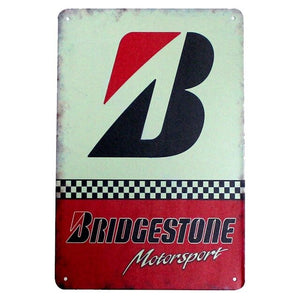 Vintage Style BP and Bridgestone Tin Wall Signs