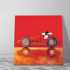 Dog Driver cartoon style classic car paintings