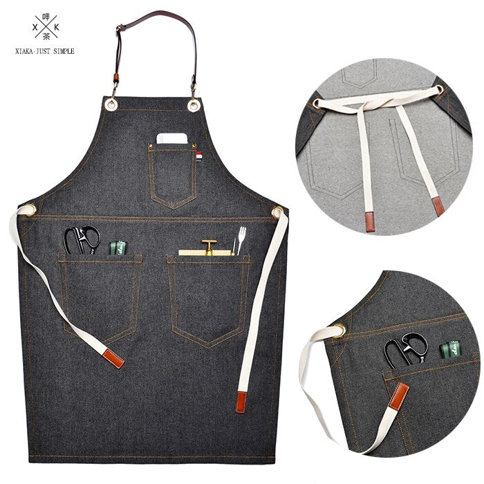 Denim garage apron