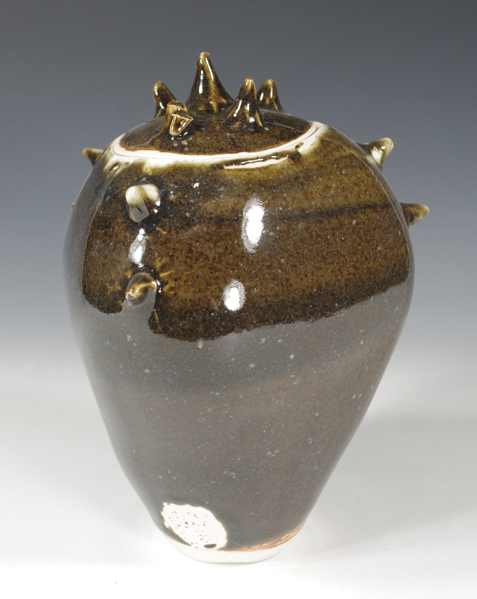 Brown Spiked Jar - Ceramic Sculpture by Skip Bleecker