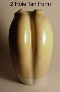 2 Hole Tan Form - Ceramic Sculpture by Skip Bleecker