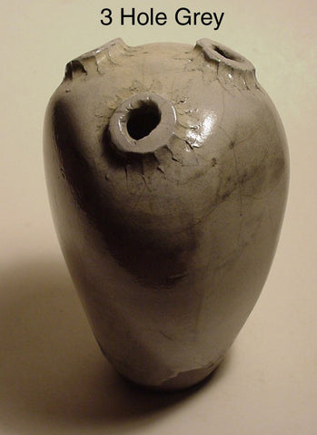 3 Hole Grey - Ceramic Sculpture by Skip Bleecker