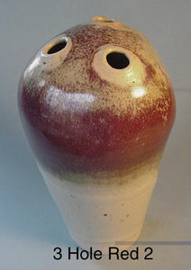 3 Hole Red 2 - Ceramic Sculpture by Skip Bleecker