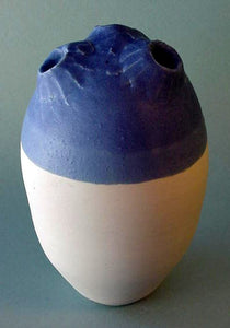Blue 3 Hole - Ceramic Sculpture by Skip Bleecker