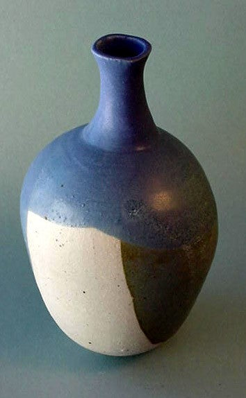 Blue Green Bottle - Ceramic Sculpture by Skip Bleecker